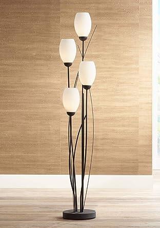 Modern Floor Lamp 4 Light Tree Ginger Black Tulip White Cased Glass