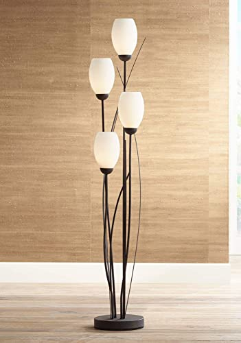 Modern Floor Lamp 4-Light Tree Ginger Black Tulip White Cased Glass Shades  for Living Room Bedroom Uplight - Franklin Iron Works