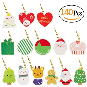 amazon com biubee 140 pcs christmas gift tags labels with string