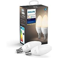 Philips Hue Kaarslamp 2-Pack - E14 - Duurzame LED Verlichting - Warmwit Licht - Dimbaar - Verbind met Bluetooth of Hue…