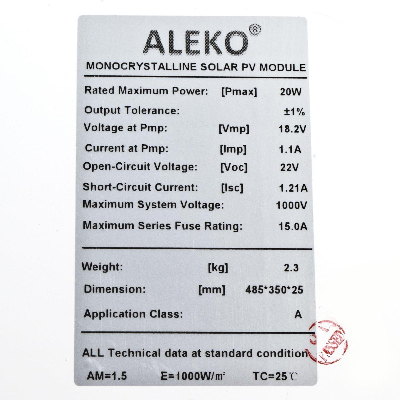 ALEKO LM109 20W Monocrystalline Solar Panel 12V 20-Watt