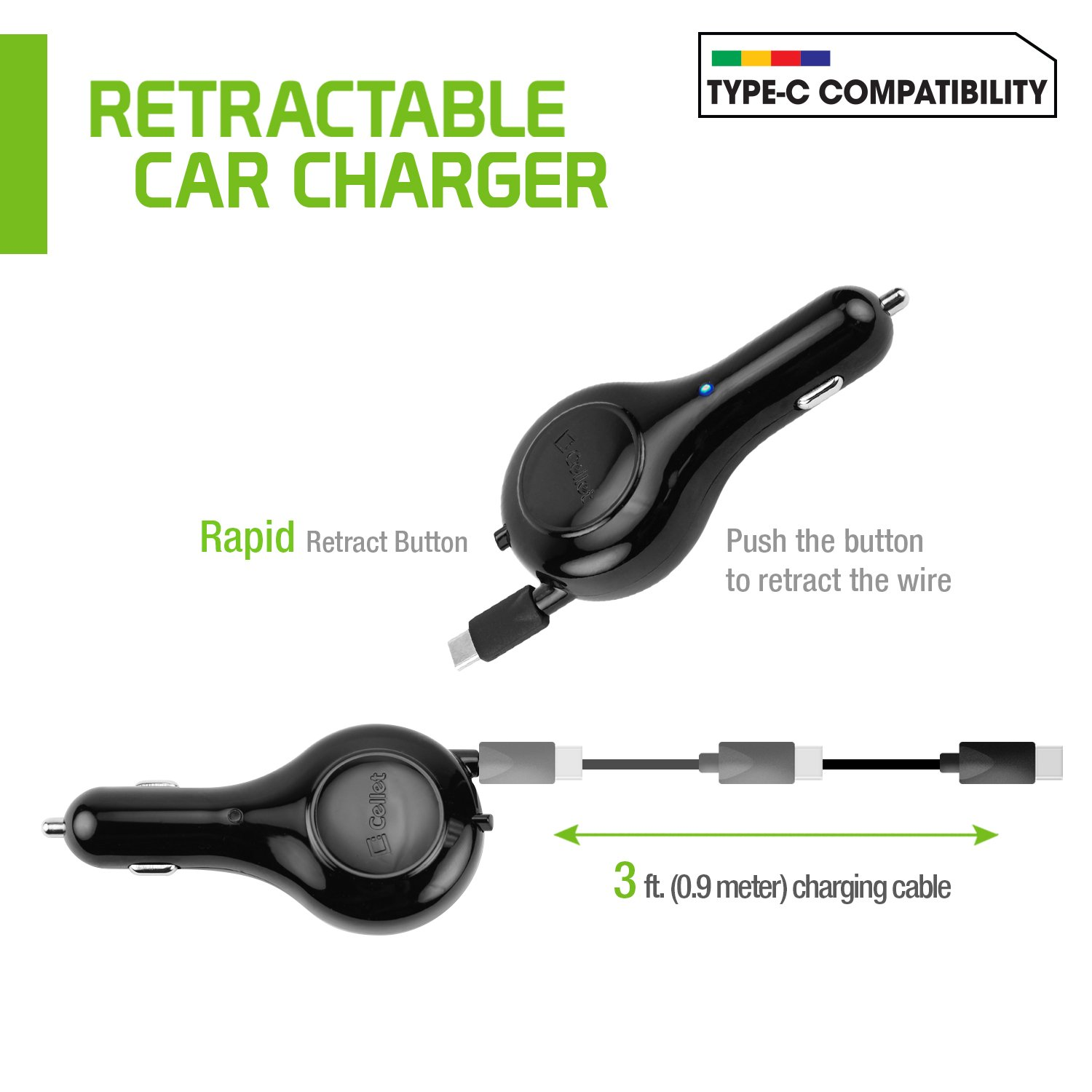 Fast and High Speed 15 Watt 6T /& Alcatel 7 5,5T Cellet 3Amp 6 Idol 5 3T Compatible for One Plus3 USB Type-C Retractable Car Vehicle Charger REVVL 2 Plus Idol 4S Pulse Mix A50 A5 PUSBC30R/_W6T