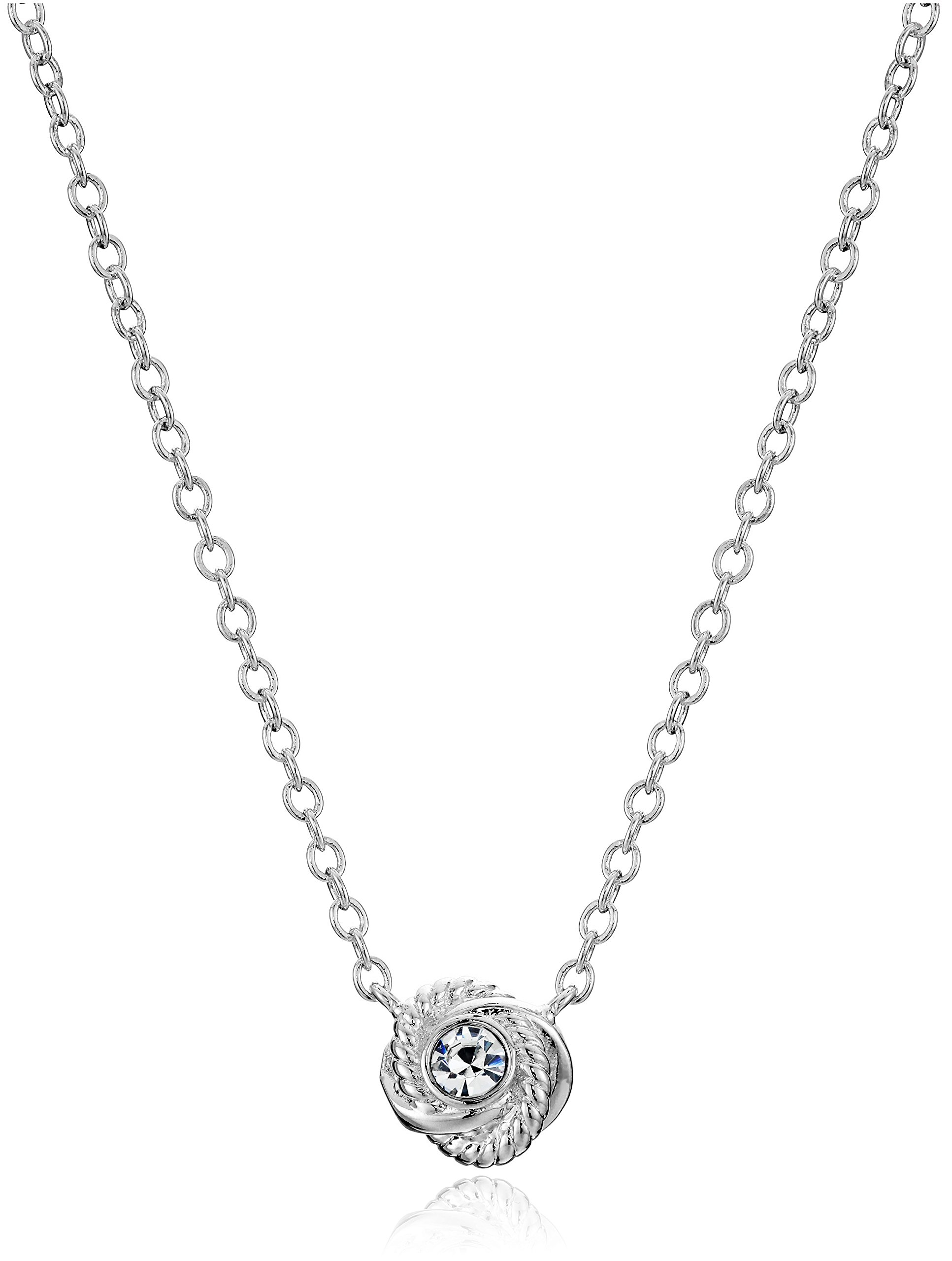 Kate Spade New York ''Infinity and Beyond Clear/Silver Knot Mini Pendant Necklace