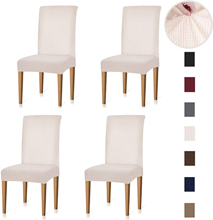 Soft Stretch Jacquard Chair Cushion Cover for Dining Room Washable Removable Chair Seat Protector/—Set of 4,Beige MILARAN Dining Chair Seat Slipcover Kitchen