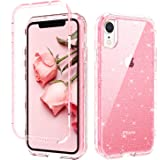 GUAGUA iPhone XR Case, Pink Glitter Bling Crystal Clear Shiny Cover for Girls Women Three Layer Hybrid Hard PC Soft TPU…