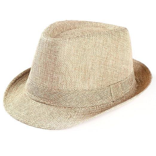 3fccc9611ff Women Men s Classic Fedora Hat with Band Unisex Short Brim Panama Straw  Fedora Hat for Summer Yamally at Amazon Women s Clothing store