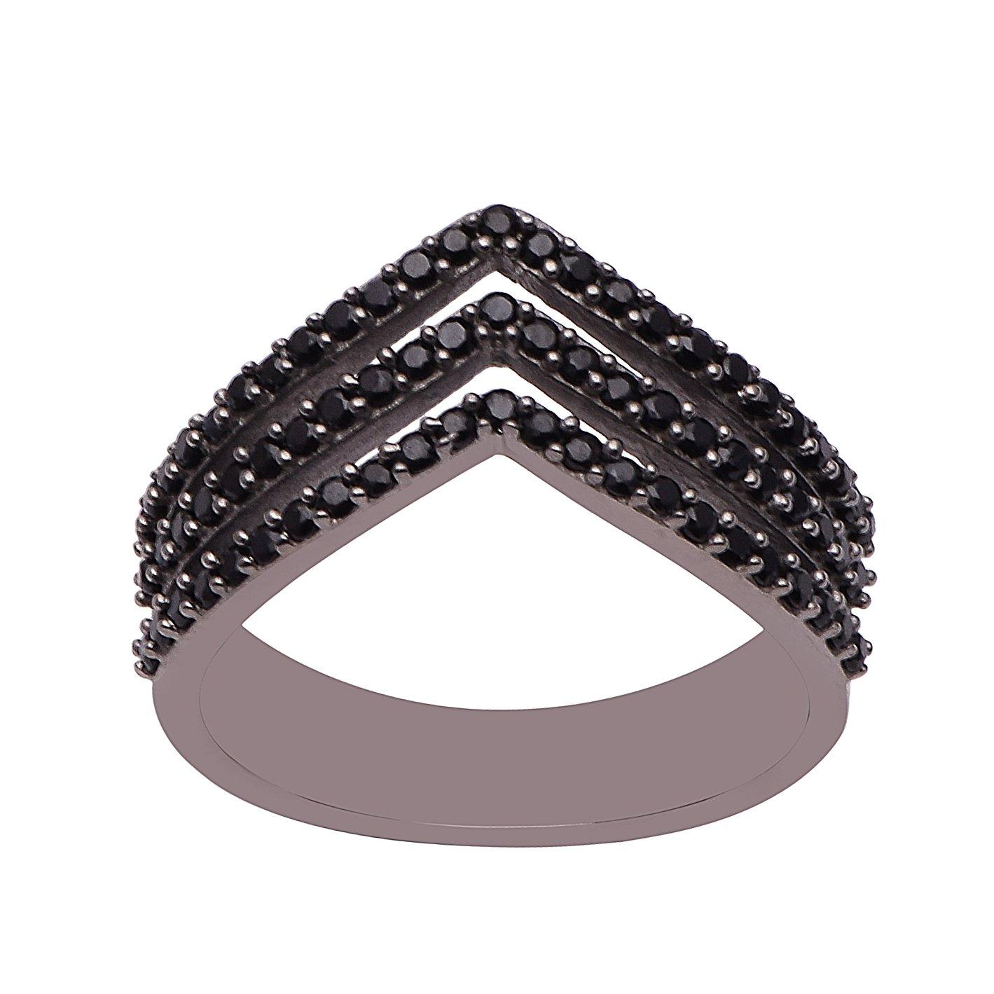 Round Black Spinel 925 Sterling Silver Multi Band Chevron V Shape Ring Sizes 5-12