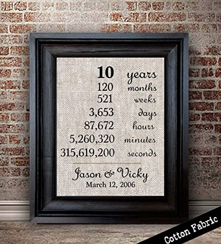 10 Year Anniversary Gift for Husband | 10th Anniversary Gift for Couple | 10 Year Anniversary Gift for Wife | Months Days Years Seconds | Cotton Fabric ... & Amazon.com: 10 Year Anniversary Gift for Husband | 10th Anniversary ...