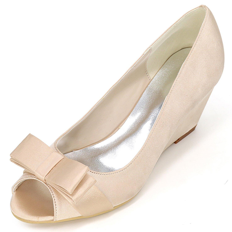 Elobaby Zapatos De Boda De Las Mujeres Y9140-12 Satin Platform Lady 35-42 TamañO Sandalias De La Cinta New/Peep Toe/6.5cm Heel 41 EU|Champagne
