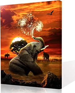 Elephant Canvas Wall Art for Bedroom Room, Elephant Playing with Water Animals Sunset Landscape Print on Canvas Art Wall Decor for Bedroom, African Elephant Modern Canvas Wall Art 16x20 inch