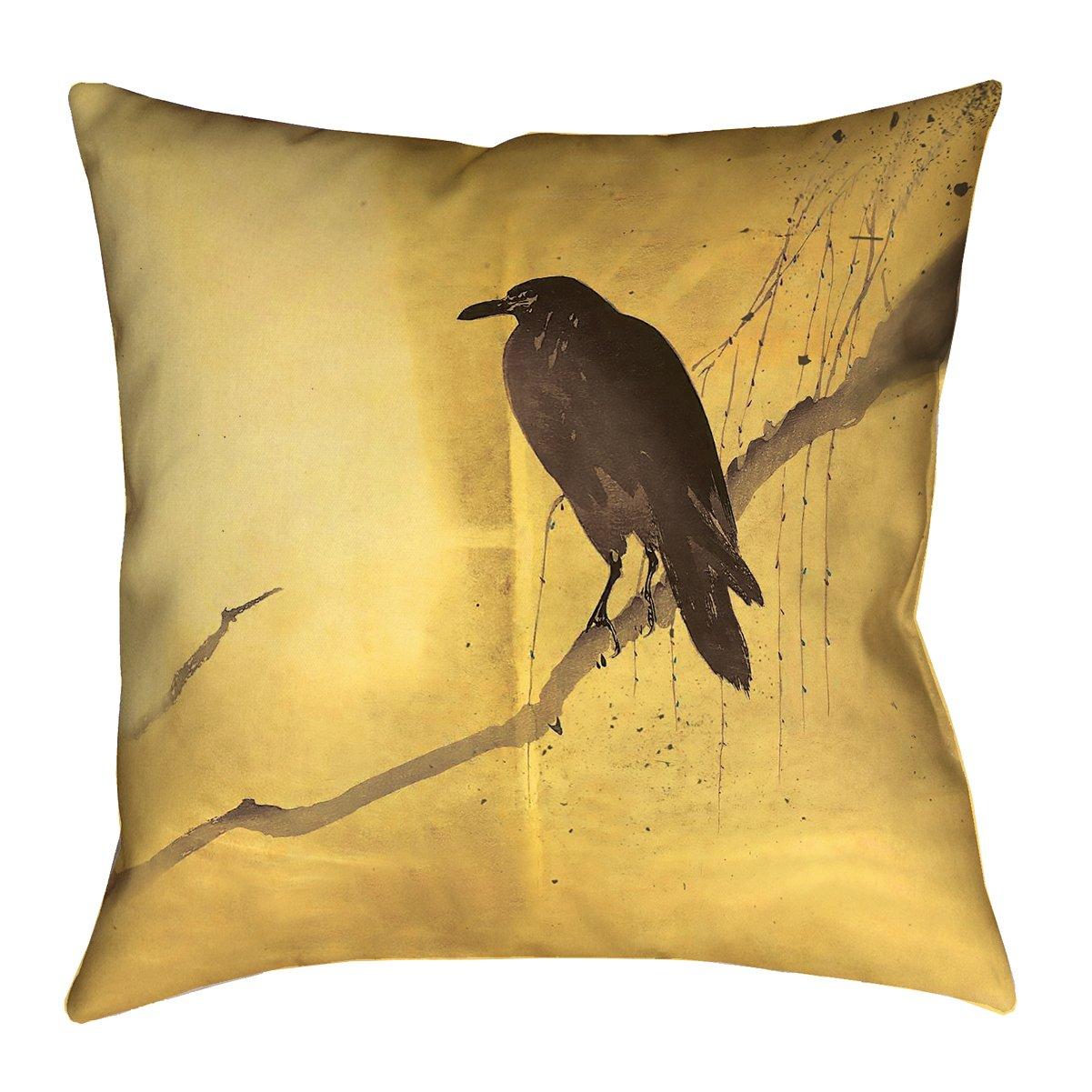 ArtVerse Katelyn Smith 18 x 18 Indoor//Outdoor UV Properties-Waterproof and Mildew Proof Yellow Crow and Willow Pillow