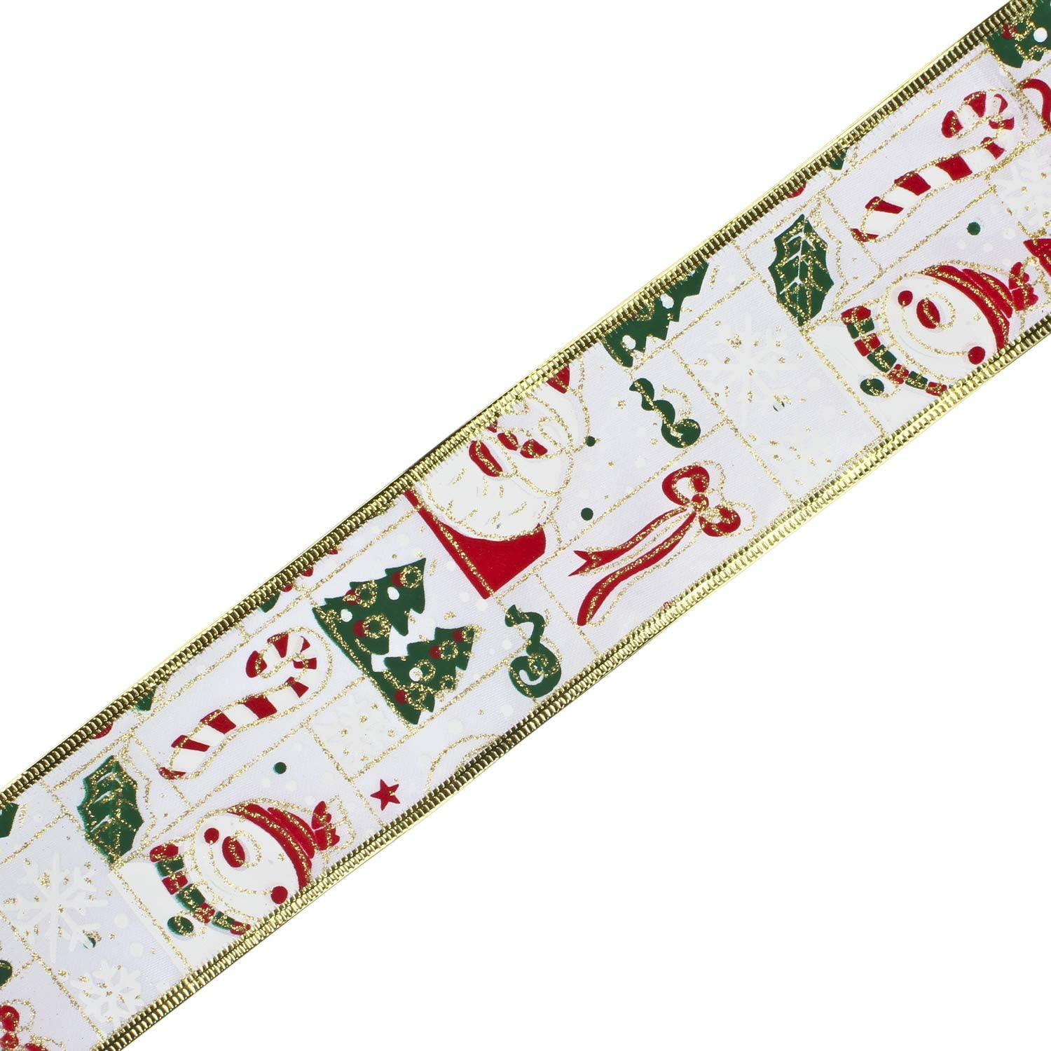 Swirl Christmas Tree Ribbon for DIY Crafts and Gift Wrapping-63MM x 5Yard Spool-Red RUSPEPA Christmas Stain Wired Ribbon