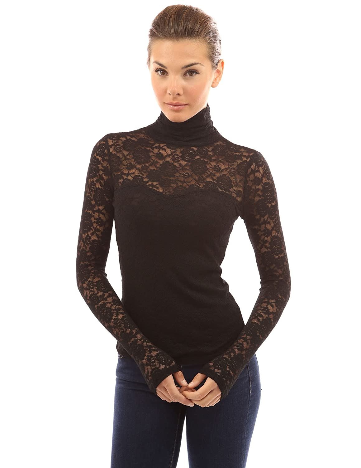PattyBoutik Women's Turtleneck Sheer Lace Blouse