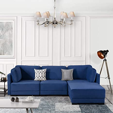 Wondrous Navy Blue Modular Sectional Sofa Couch Convertible Sofa Sectional Reversible Chaise Ottoman 3 Piece Custom Couch Feature Modern L Shaped Sectional Inzonedesignstudio Interior Chair Design Inzonedesignstudiocom