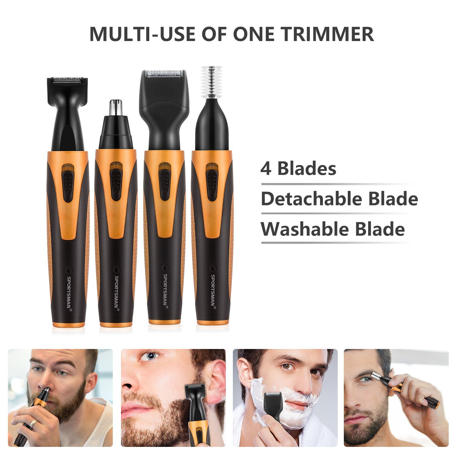 Nose Hair Trimmer, [Newest Version] USB 4 in 1 Rechargeable waterproof Nose Sideburn Eyebrow Beard Ear Hair Trimmer for Men & Women by Sportsman (Image #4)