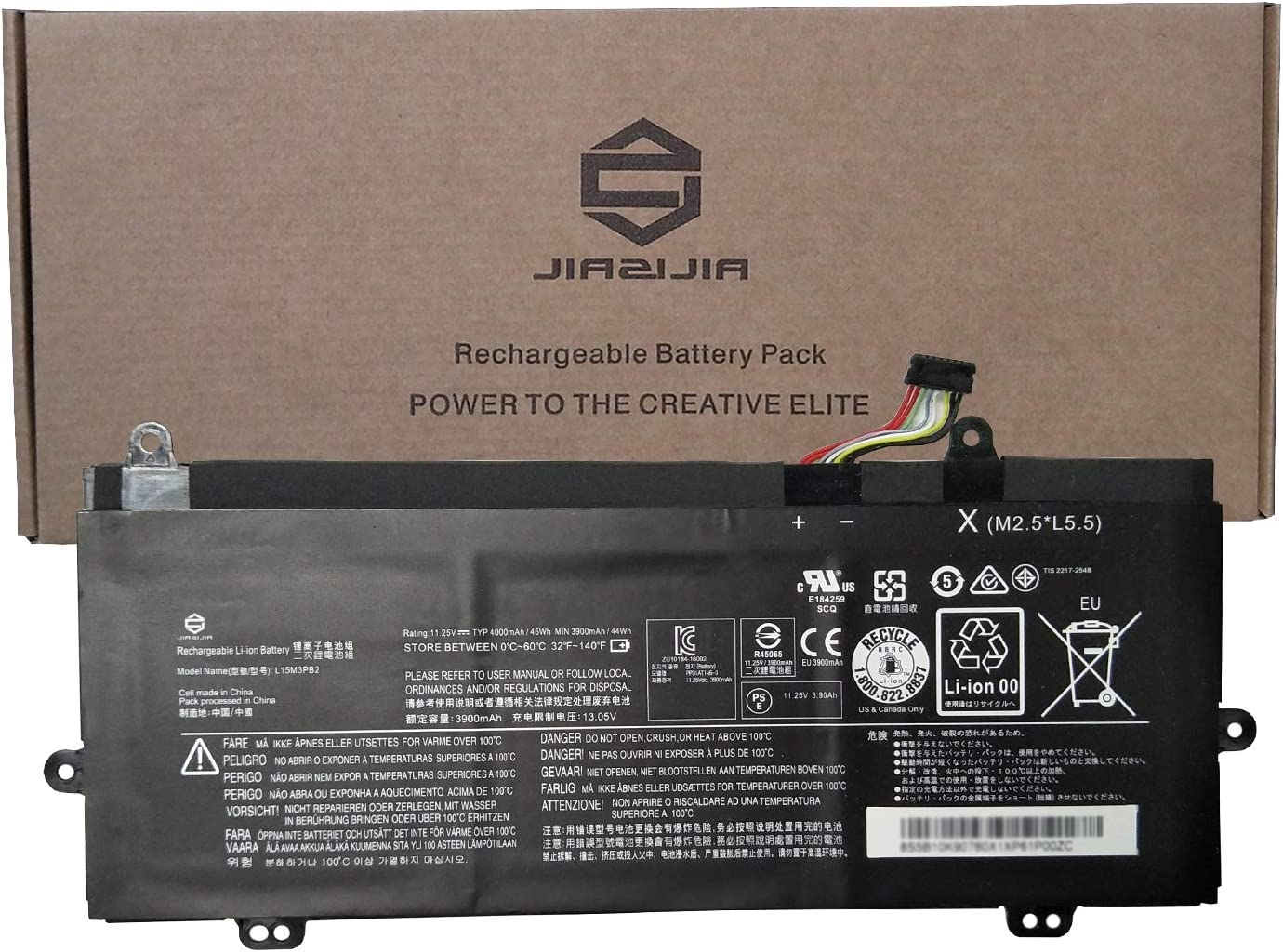JIAZIJIA L15M3PB2 Laptop Battery Replacement for Lenovo Winbook N22 N23 100E1st Gen Series Notebook 5B10K90780 L15C3PB0 5B10K90783 Black 11.25V 45Wh 4000mAh 3-Cell