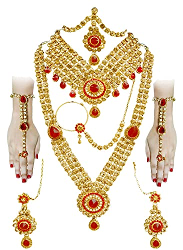 52ff082db24ef SATHIYA JEWELLERS Golden Gold Plated Complete Bridal Jewellery Set for  Women - 8 Pieces