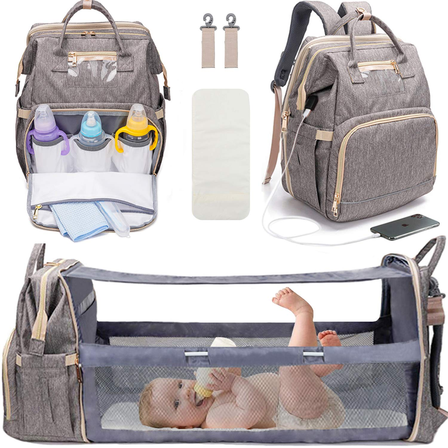3 in 1 Travel Bassinet Foldable Baby Bed Baby Nest with Mattress Portable Diaper Changing Station Mummy Bag Backpack Travel Crib Infant Sleeper Portable Bassinets for Baby and Toddler