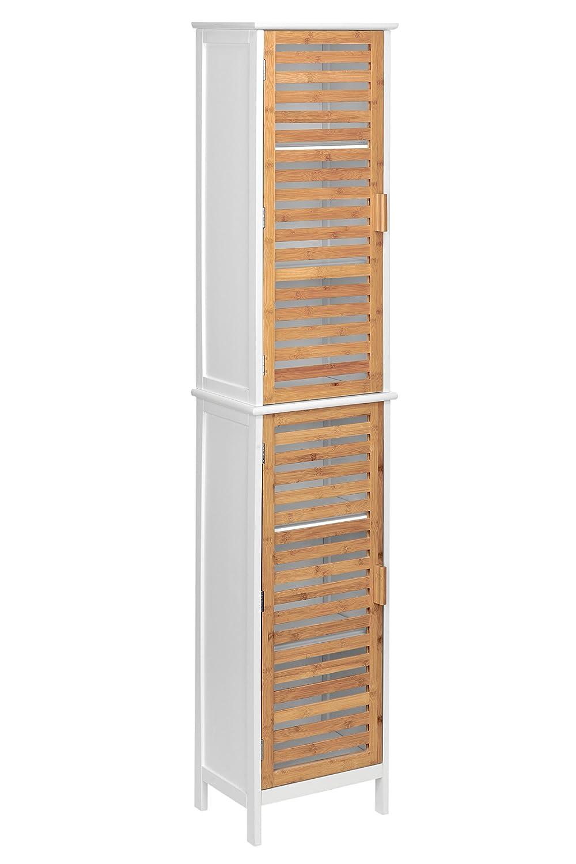 Premier Housewares 2402903 Meuble de Salle de Bain avec Deux Portes-Quatre Etagères Intérieures-Tablettes MDF-Bambou-
