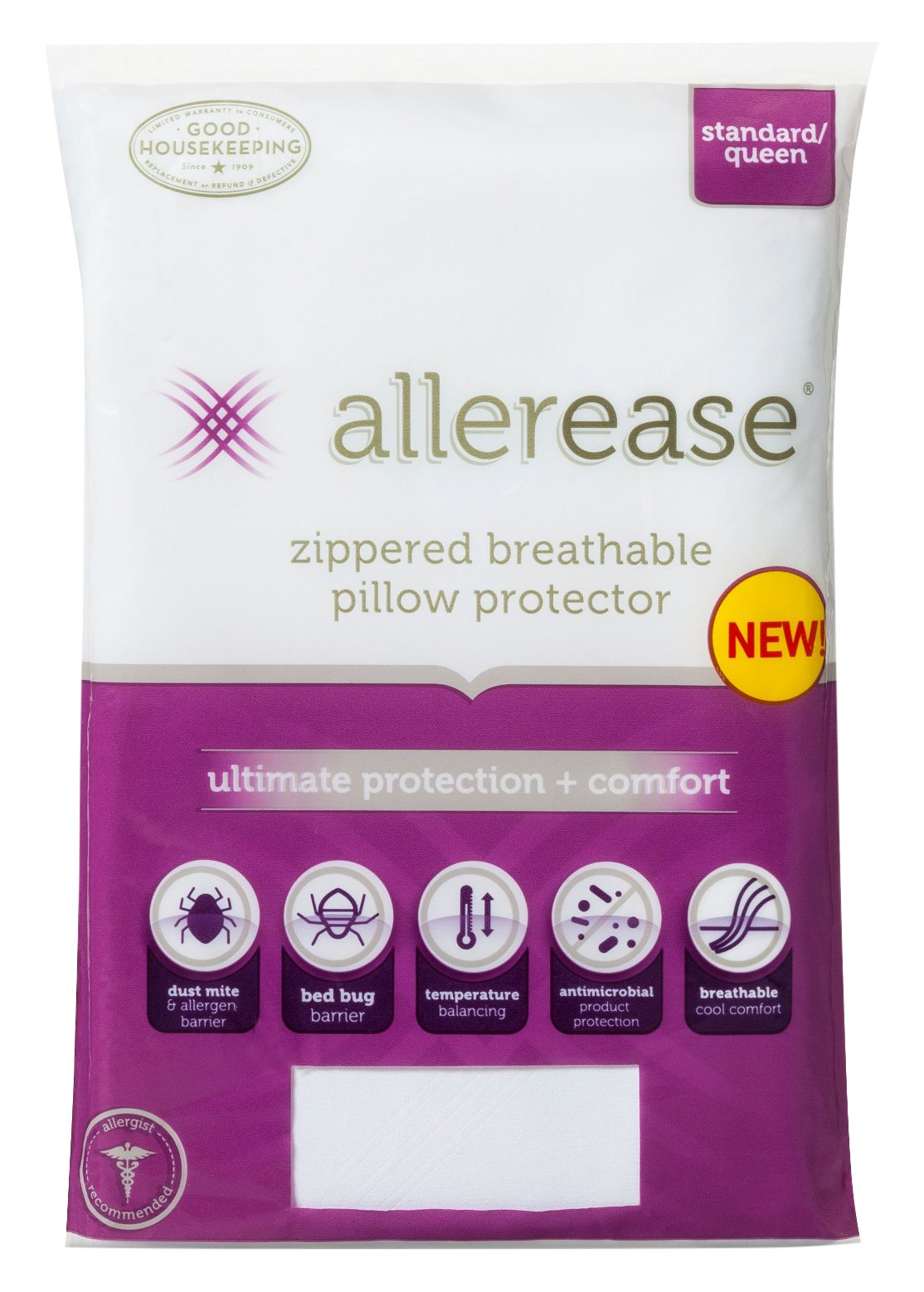 AllerEase Ultimate Protection & Comfort Temperature Balancing Pillow Protector – Zippered, Allergist Recommended, Prevent Collection of Dust Mites and Other Allergens, Standard/Queen