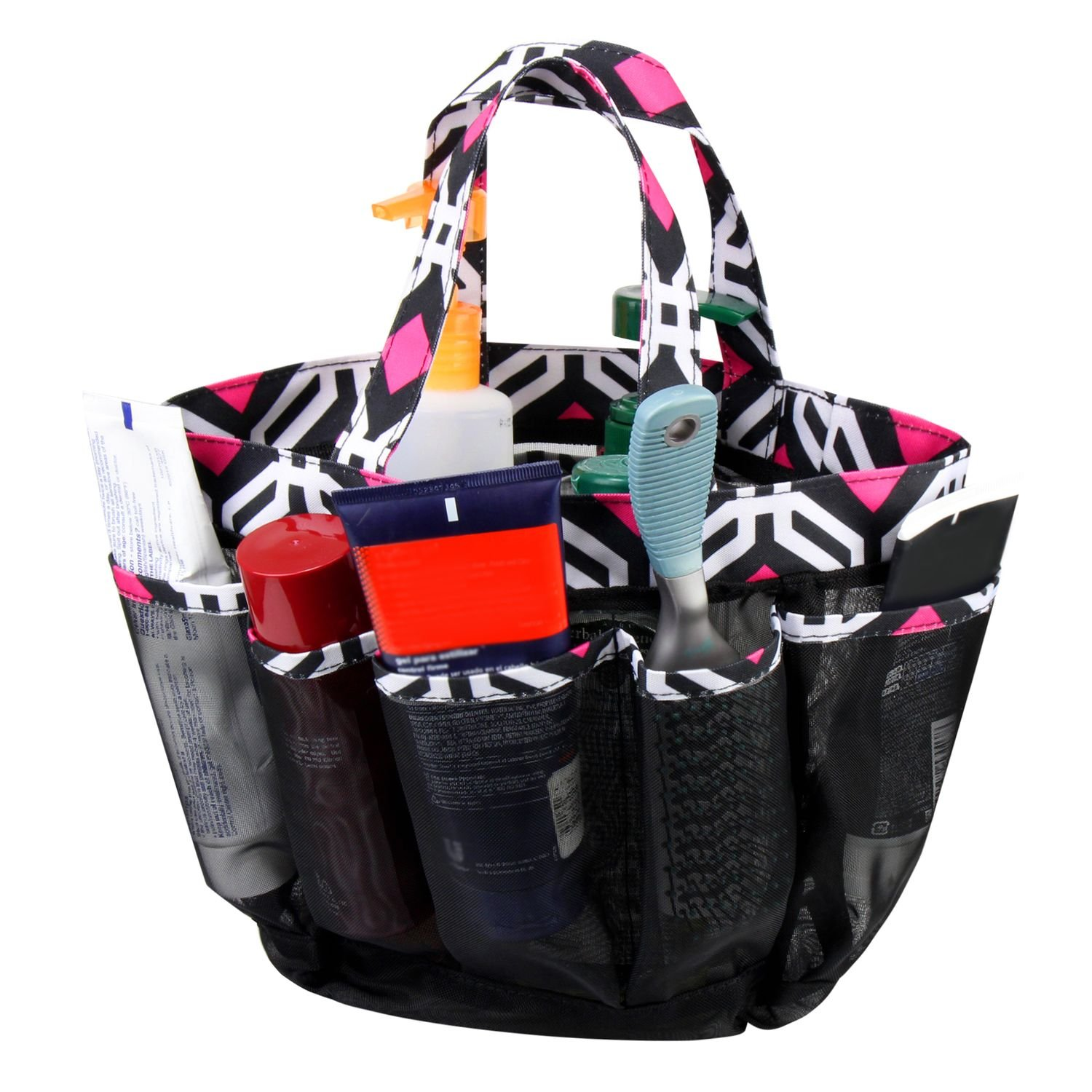 Zodaca Mesh Shower Caddie Tote Bag, Black Graphic by Zodaca (Image #2)