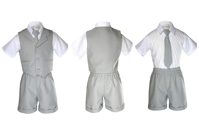 MILLTEX 4pc Born Baby Boy Toddler Teen Wedding Easter Formal Party Color Eton Shorts Vest Suit Set Sm-4T