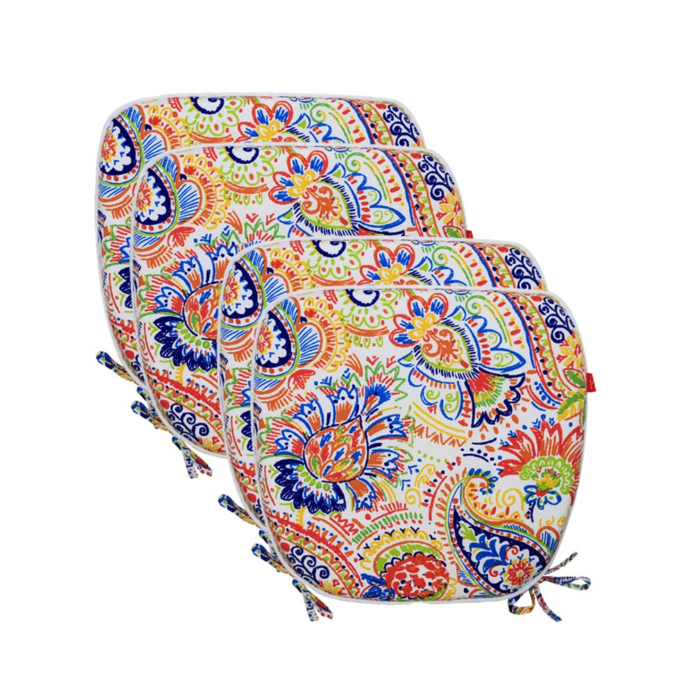 "Pcinfuns Indoor/Outdoor All Weather Chair Pads Seat Cushions Garden Patio Home Chair Cushions, 17"" X 16"",Set of 2 17"" X 16"""