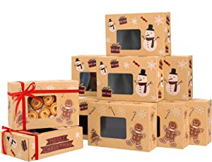 Sunolga Cookie Boxes Kraft 12 Pcs With Window Christmas Treats For Gifting Bakery Donut Candy Dessert Boxes With Christmas Stickers For Holiday Christmas Food Containers For Gift Giving