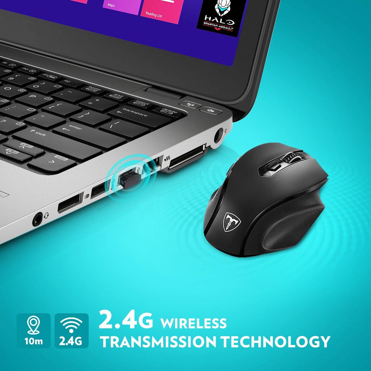 VicTsing Full Size Wireless Mouse with Nano USB Receiver, 5 Adjustable CPI Levels, 6 Buttons for Notebook, PC, Laptop, Computer, Macbook-Black by VicTsing (Image #4)