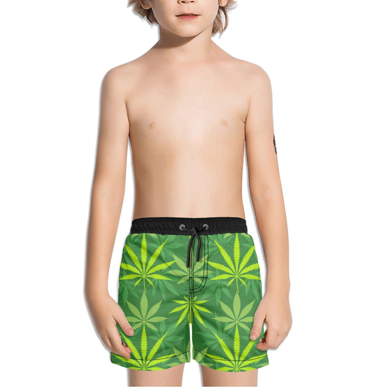 Ouxioaz Boys Swim Trunk Cannabis Marijuanas Leaves Beach Board Shorts