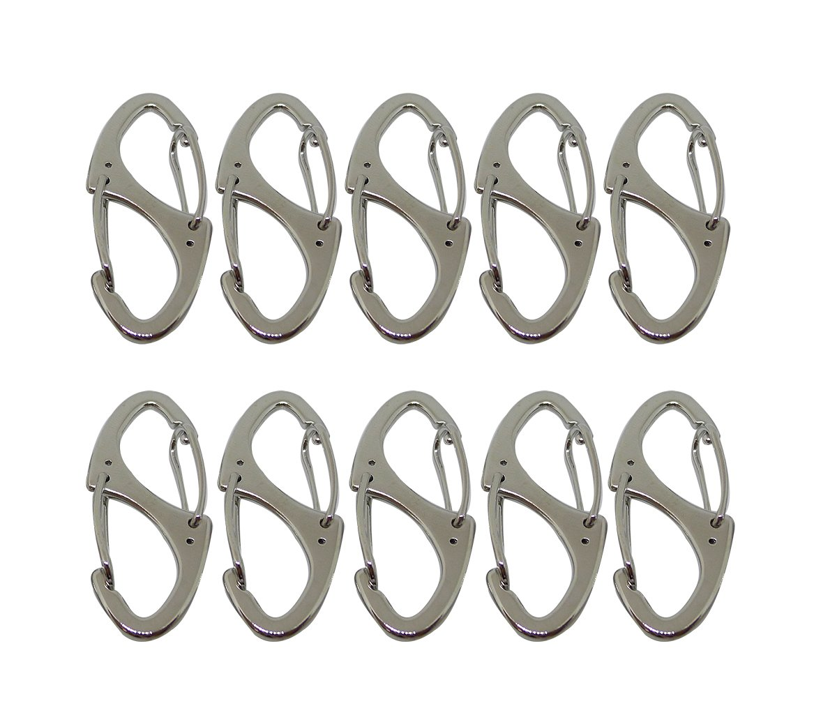 Faocean 10 pcs Small Metal Carabiner Clips Dual Spring Gate Snap Hooks Keychain Buckle Tool, Silver Black