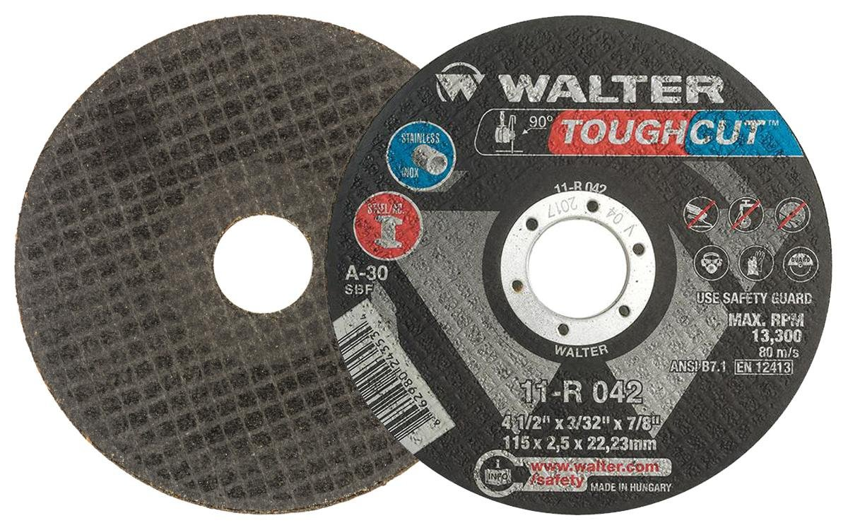 Walter 11R042 4-1/2x1/16x7/8 Toughcut Type 1 Cutting Wheel 30 Grit, 25