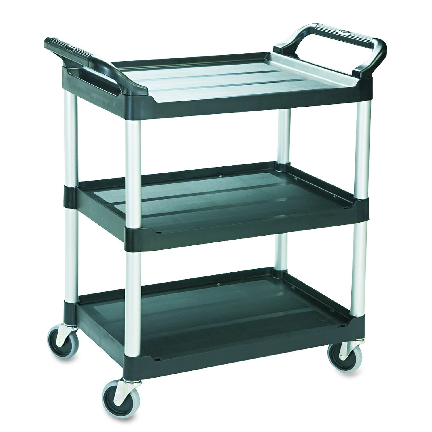 Rubbermaid Commercial Economy Plastic Cart, Three-Shelf, 15H x 19 L, 200 lb Capacity, Black (FG342488BLA) 15H x 19 L