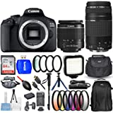 Canon EOS 2000D / Rebel T7 with 18-55mm + 75-300mm 4 Lenses Bundle Includes: Extra Battery and Charger, 64GB Ultra SD…