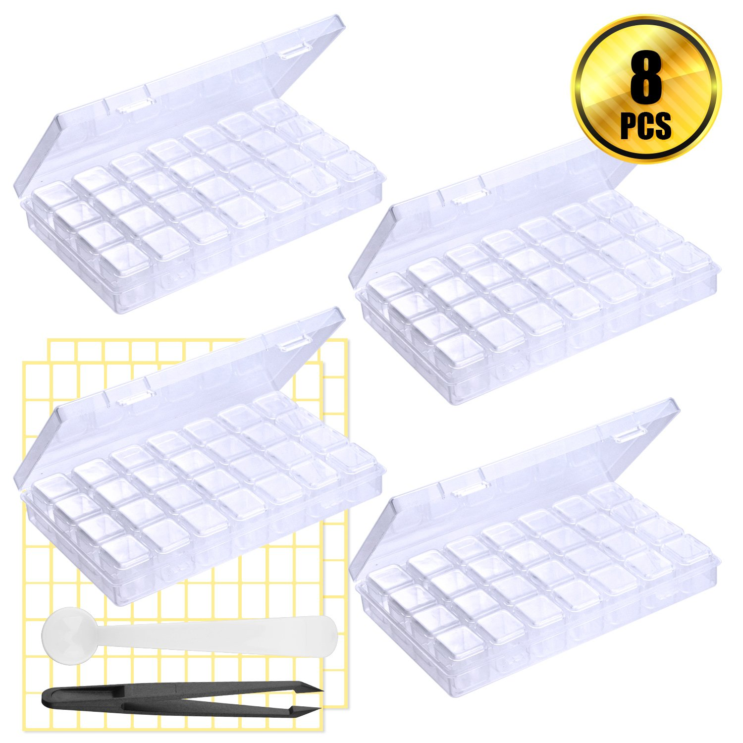 WXJ13 4 Pack 28 Grids Adjustable Storage Boxes 5D Diamond Painting Accessories Storage Box with 2 Pack Blank Label Sticks and 1 Piece Spoon