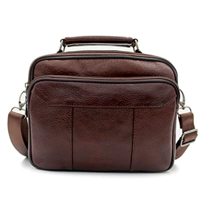 8499c79831ea Amazon.com  Mynos Men Crossbody Bag Genuine Leather Retro Purse and Handbags  Business Shoulder Bag Man Messenger Bag  Shoes