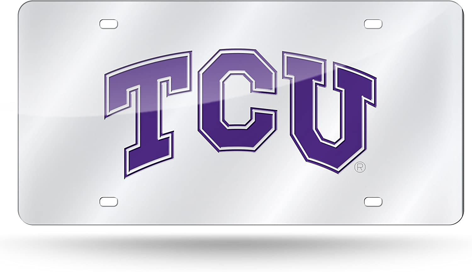 NCAA Rico Industries  Laser Inlaid Metal License Plate Tag TCU Horned Frogs