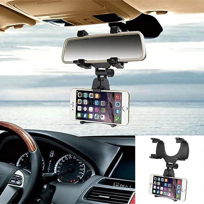 Soporte para móvil en el espejo retrovisor, con soporte universal de 360 grados, para smartphones iPhone y Android, GPS: Amazon.es: Electrónica