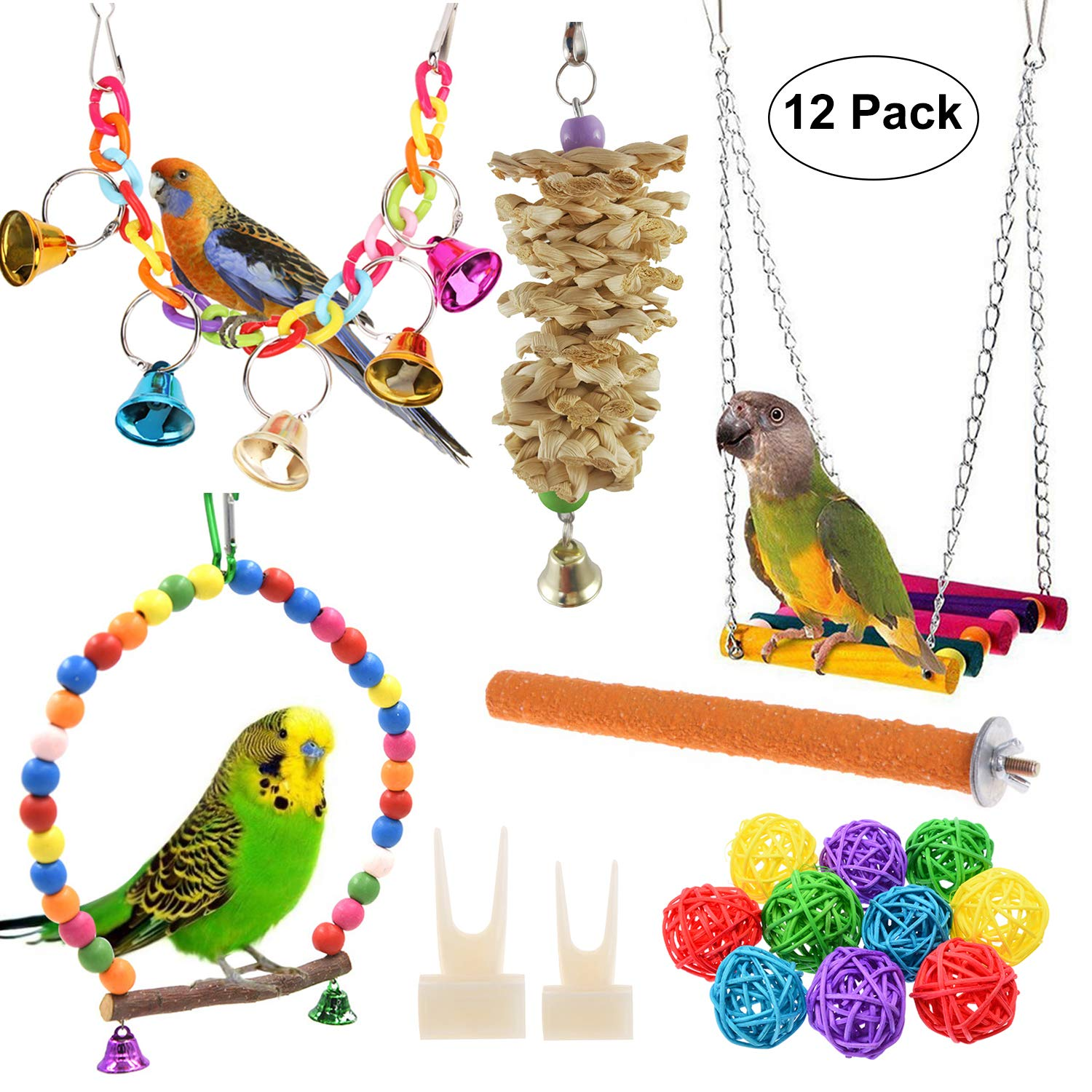 Anteer 12 Packs Bird Parrot Swing Chewing Toys – Hanging Bell Birds Cage Toys Suitable for Small Parakeets, Cockatiel…
