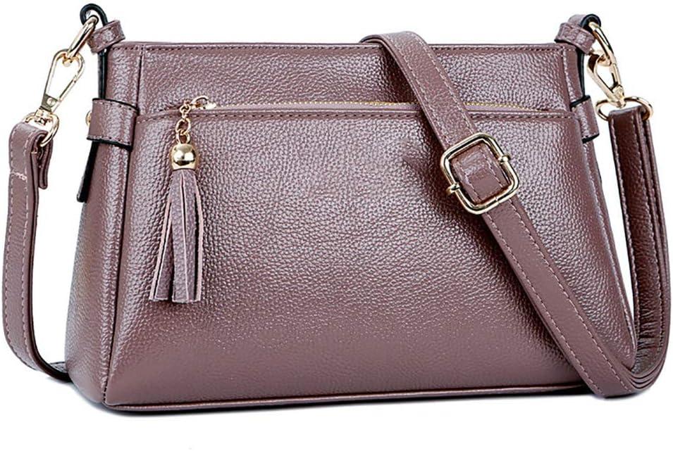 TYRBAGS Donne di Cuoio Multi-Pocket Tote, Leather Tote Donne del Sacchetto Impermeabile della Cartella della Spalla Borsa per Donne Shopping/Lavoro/Incontri,Rosso Purple