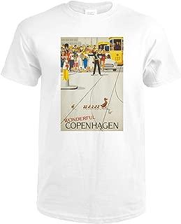 product image for Denmark, Wonderful Copenhagen, (artist: Vagnby c. 1961), Vintage Advertisement 61109 (Premium White T-Shirt X-Large)