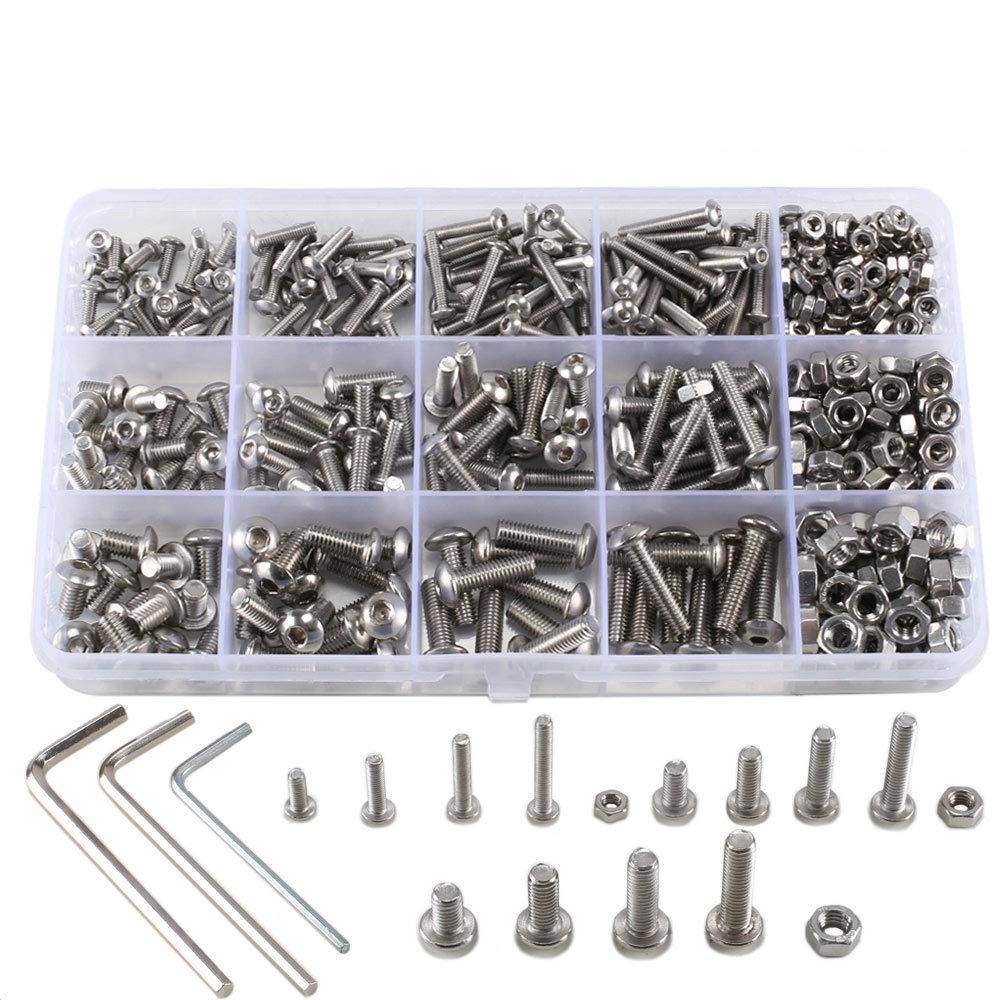 ManYee 500pcs kit tuerca hexagonal de tornillo, hexagonal redondo M3 M4 tornillo de acero inoxidable con caja de almacenamiento y llave