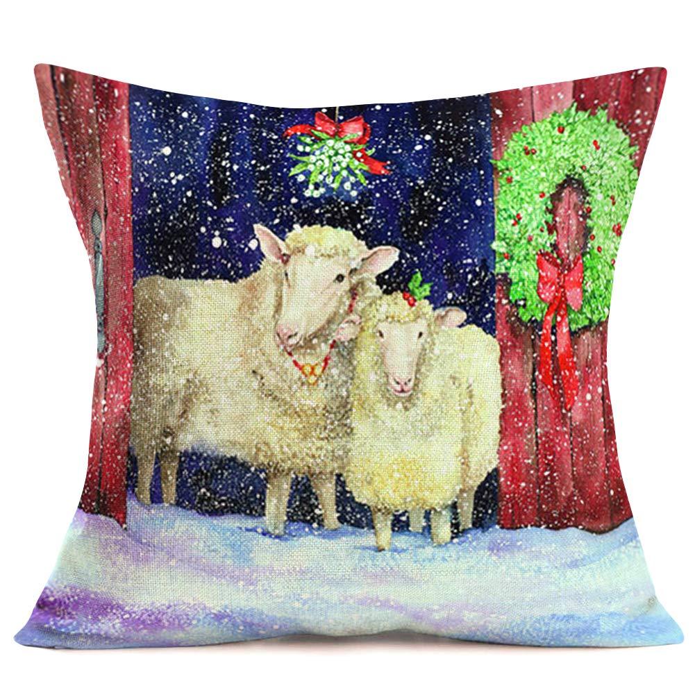 Xihomeli Christmas Animal Sheep Farmhouse Pillow Covers Xmas Winter Outdoor Green Leaves Wreath Pillow Cases Cushion Cover Square Cotton Linen Snow Pillowcase Decor Sofa 18x18 Inch(Sheep)