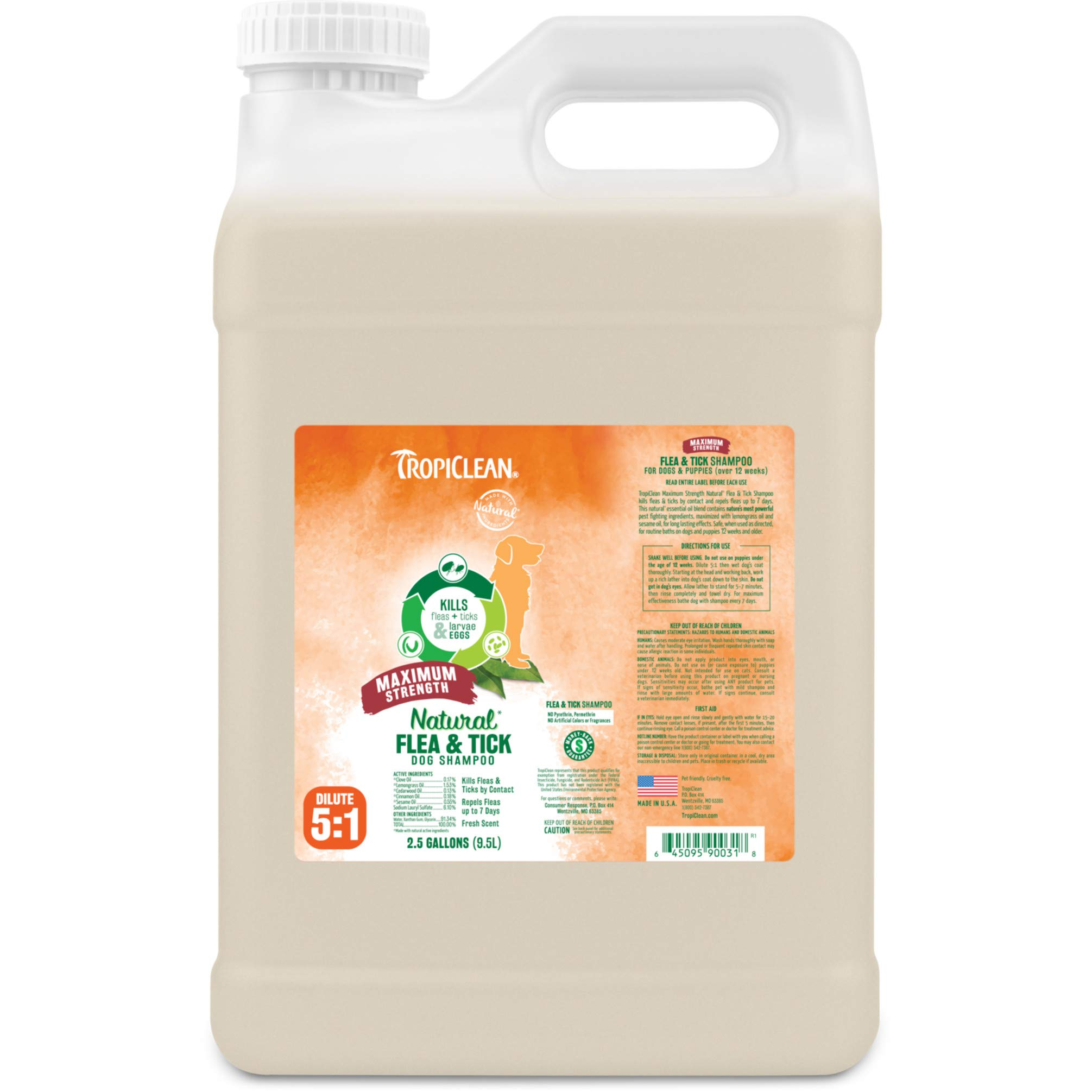 TropiClean Flea and Tick Maximum Strength Shampoo for Dogs, 2.5 gal, Made in USA by TropiClean