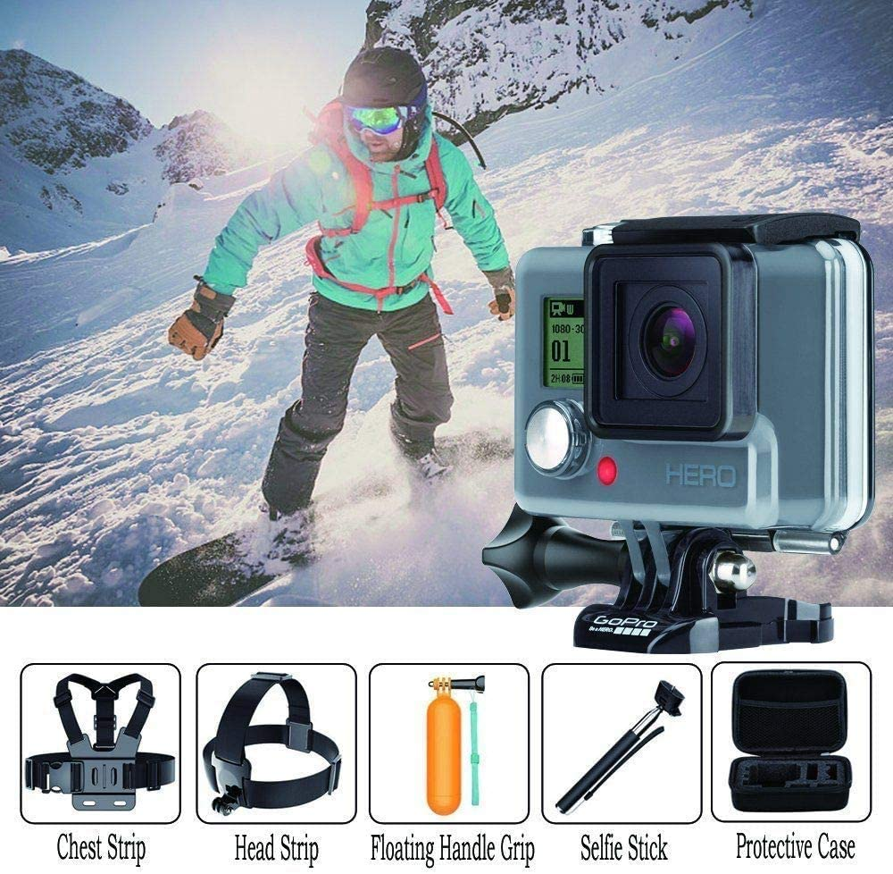 Navitech 18-in-1 Action Camera Accessories Combo Kit with EVA Case Compatible With The Kitvision Venture 1080P Action Camera