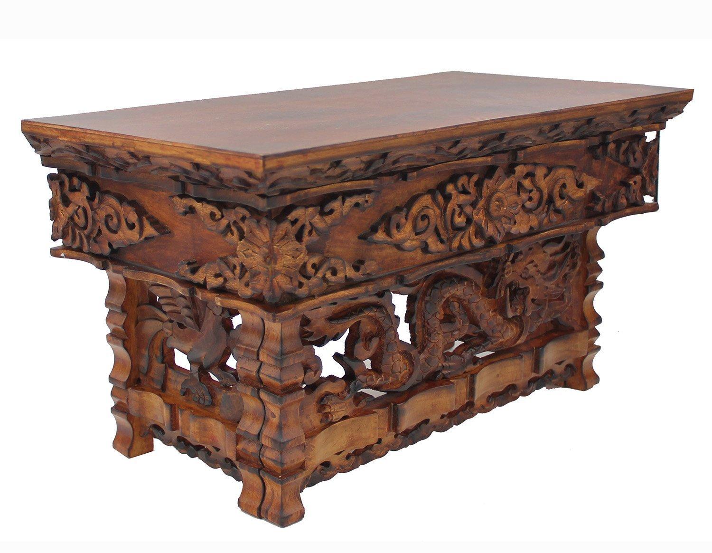 DharmaObjects Solid Wood Hand Carved Tibetan Buddhist Prayer Shrine Altar Meditation Table (Medium, Dark)