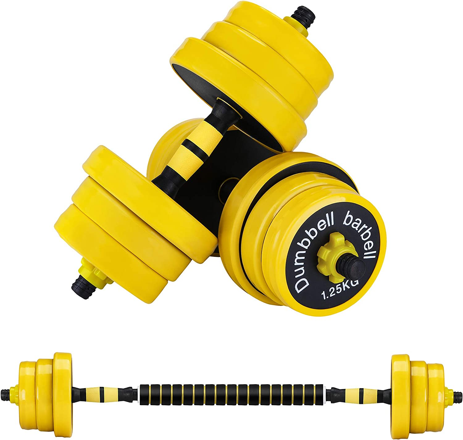 ZYOMY Adjustable Dumbbells Barbell Set, Weights Dumbbell with Connecting Rod, 44Lbs Free Weights 2-in-1 Set Workout Exercise Training Fitness, Non-Slip Neoprene Hand, All-Purpose, Home, Gym, Office