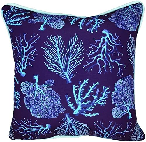 Sea by Day Outdoor Decorative Throw Pillow for Patio Furniture Weather Resistant 20×20 Blue Coral