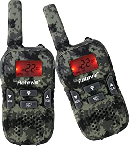 Retevis RT33 Walkie Talkie for Kid Handheld Two Way Radio with VOX Flashlight Function for Birthday Gift Christmas (1 Pair)