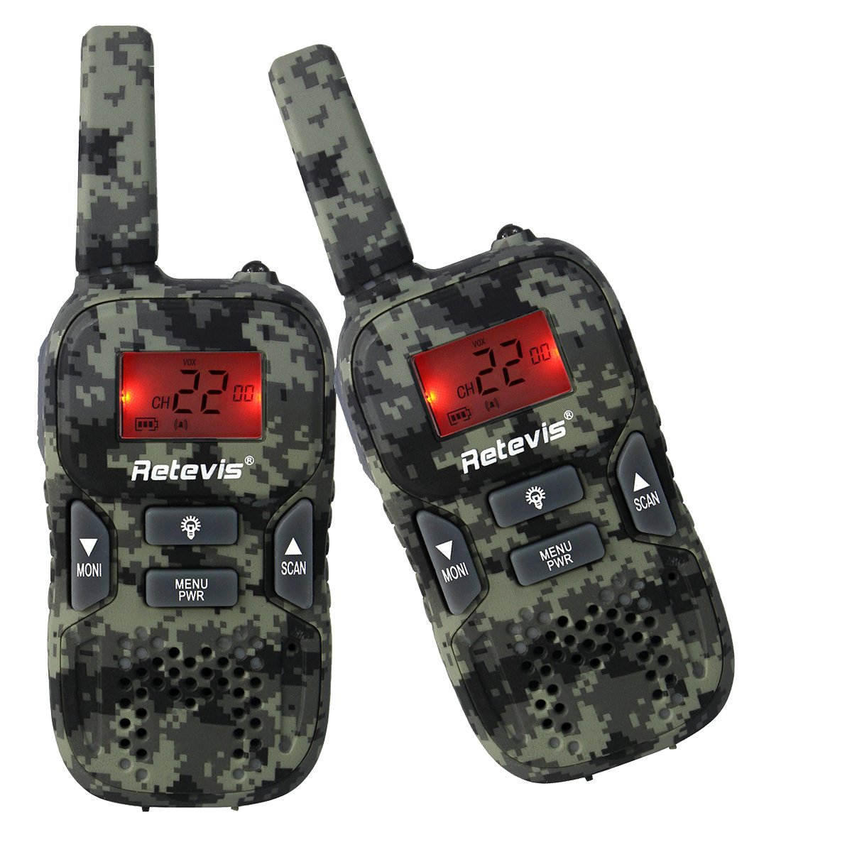 Retevis RT33 Kids Walkie Talkies 0.5W 22CH FRS Walkie Talkies Out Door Toy for Kids(1 Pair Camouflage)